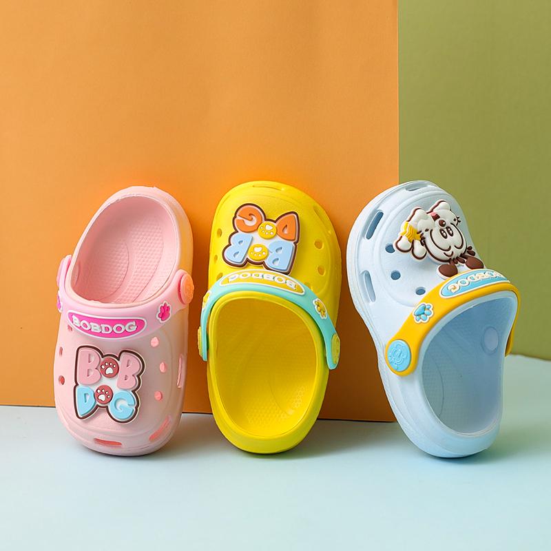 巴布豆宝宝拖鞋夏1-3岁2男室内卡通家居儿童洞洞幼儿软底防滑女鞋