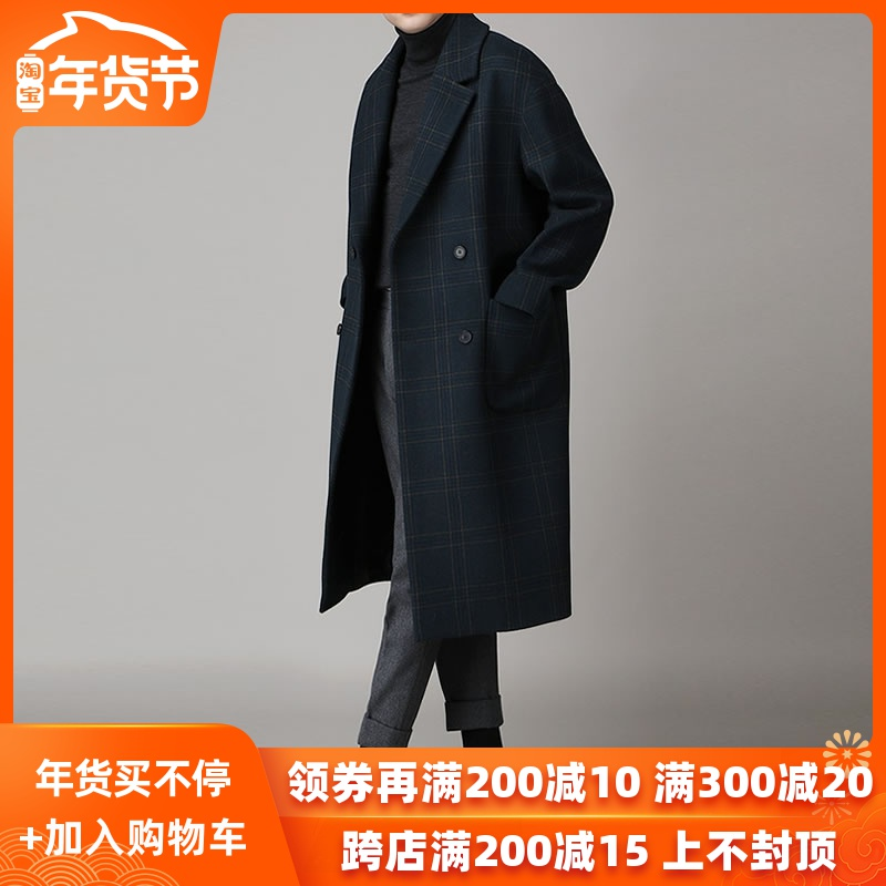 秋冬格子毛呢大衣男中长款冬季韩版英伦风男士呢子风衣外套宽松