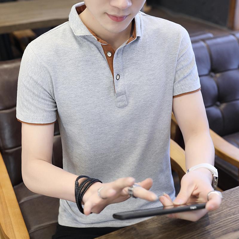 夏季纯棉男士短袖t恤半袖韩版翻领polo衫潮流男装拼色T恤青年上衣