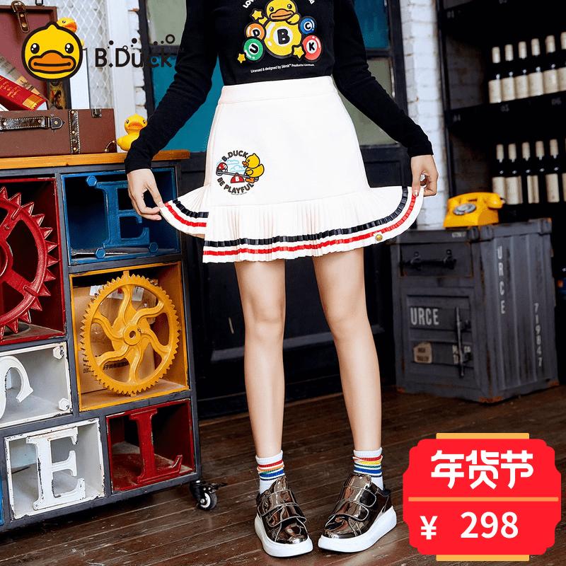 B.Duck playground系列小黄鸭女装2017新款不规则裙摆A字裙短裙