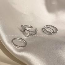 精致超仙蝴蝶扭曲四件套戒指女轻奢小众设计感时尚个性气质食指环