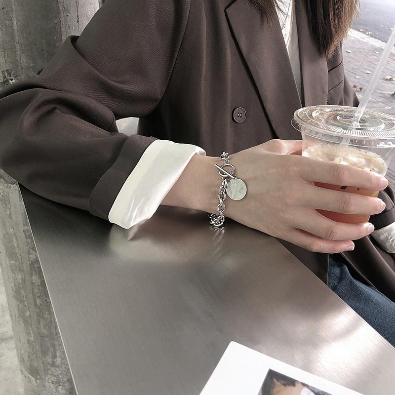钛钢不掉色嘻哈潮人个性ins手链女冷淡风小众设计韩版简约手饰品