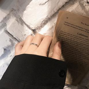 通体s925纯银素圈戒指女时尚个性ins潮复古小众设计可调节食指戒图片