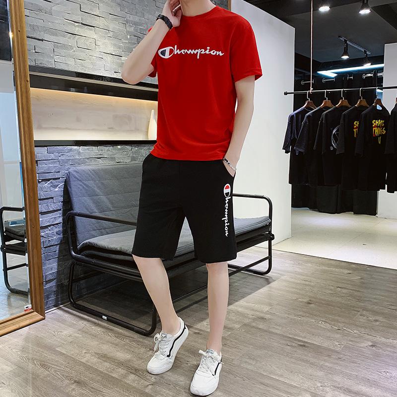 20夏季短袖套装韩版潮流T恤男休闲运动两件套QT5001-TZ909-P25