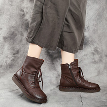 软底马ye0靴202in真皮女靴复古文艺平底牛筋底手工缝制短靴子