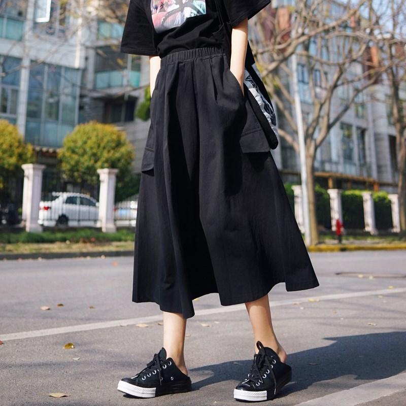 口袋日式工装裙女复古日系百搭学生高腰a字裙子黑色山本风半身裙