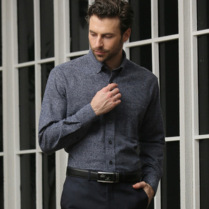 High-quality spring and autumn new cotton-brushed middle-aged flannel shirt men long-sleeved shirt dad installed inch cl