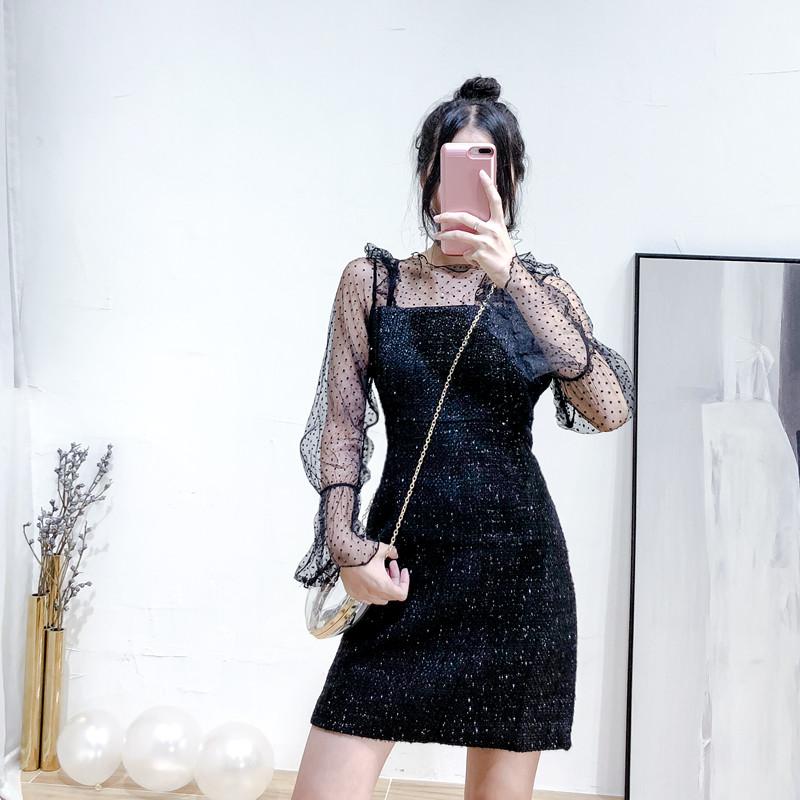 网纱拼接连衣裙2018新款秋韩版复古时尚chic中长款喇叭袖裙子女潮