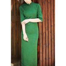 唐之语日at1亚麻纯色75中袖女七分袖长袖民国风旗袍连衣裙绿