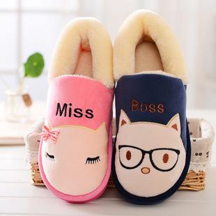 棉拖鞋 跟情侣厚底冬季月子居家