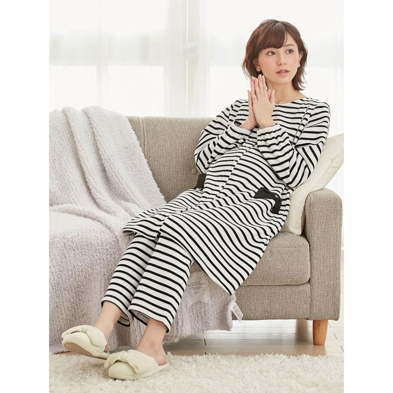 ANGELIEBE日本直供孕妇加绒条纹哺乳上衣裤子睡衣套装家居服22294