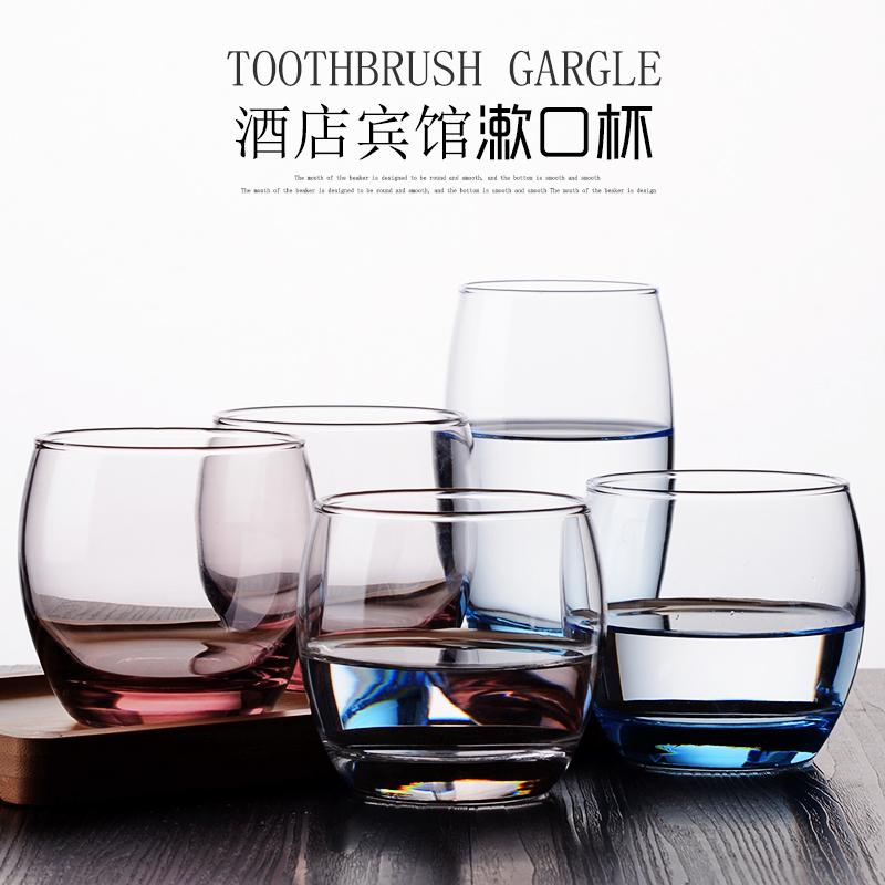 酒店玻璃漱口杯家用创意简约可爱情侣刷牙杯牙刷杯客栈水杯洗漱杯