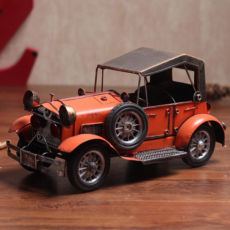 欧式复古个性铁皮模型老爷车摆件创意家居电视柜摆设房间装饰礼品
