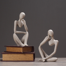 北欧抽象的物复古摆件现代si9约办公室ai酒柜装饰品雕塑摆设