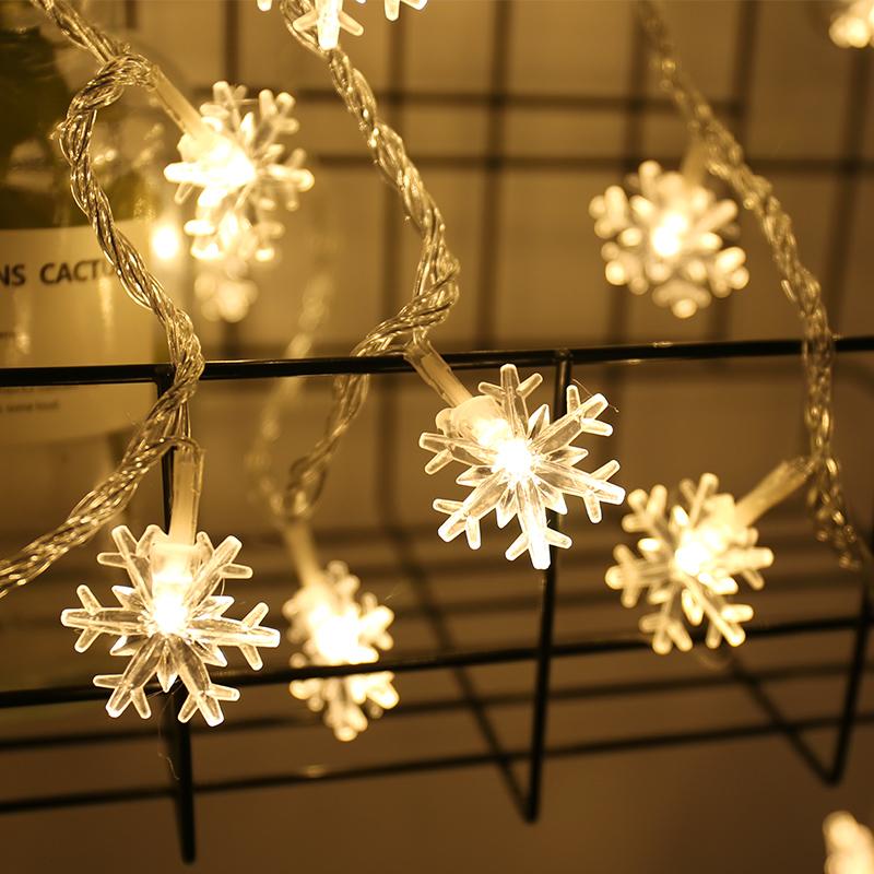 雪花灯串led彩灯闪灯串灯满天星星灯圣诞节小挂灯ins房间装饰灯