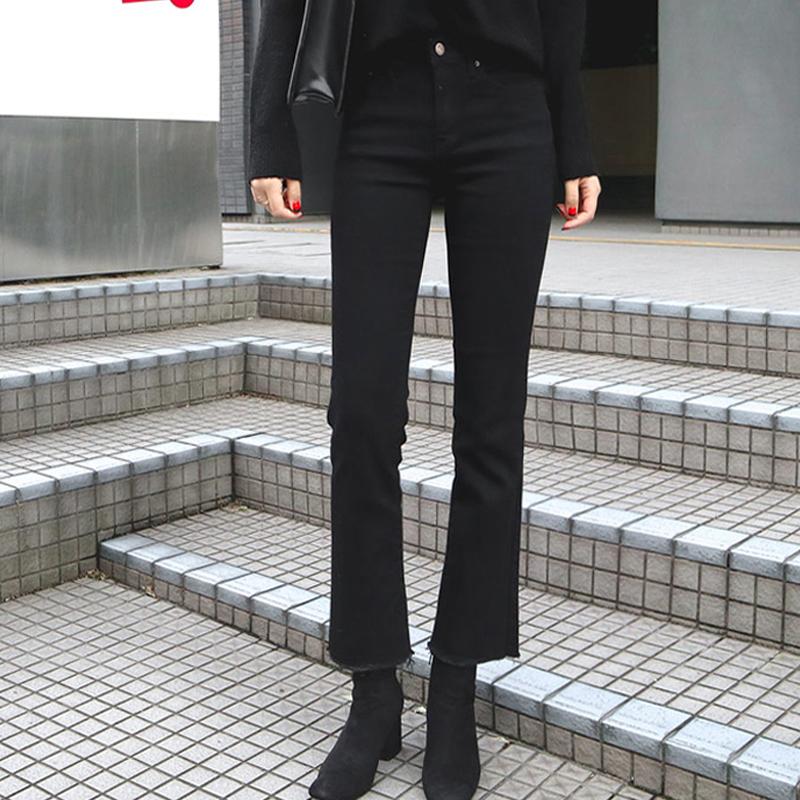 黑色牛仔裤女春秋2019新款高腰显瘦小个子阔腿九分垂感微喇叭裤潮