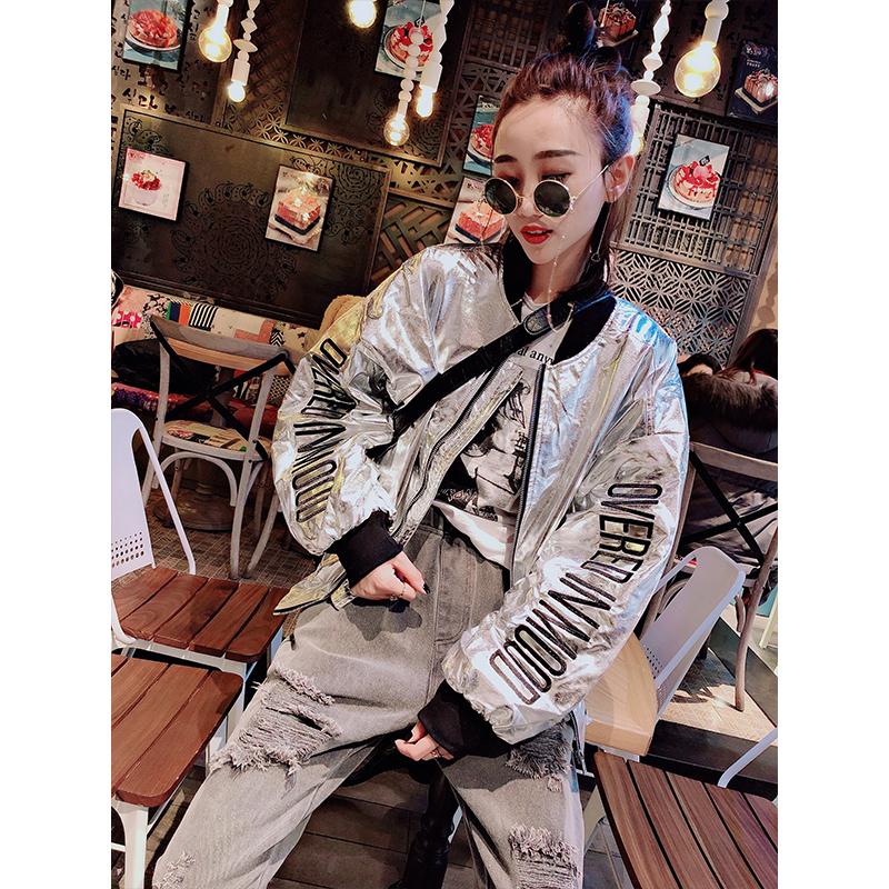 银色外套2019欧洲站春新款刺绣字母薄款蝙蝠袖韩版短款皮衣夹克女