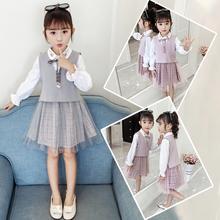 女童秋装连衣裙长袖2021新式xi12大童网en毛衣马甲裙两件套