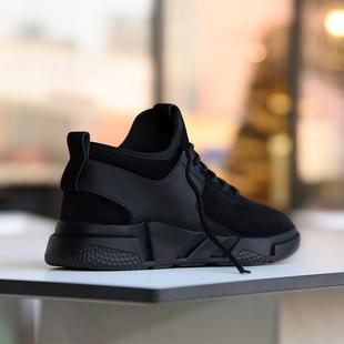 冬季鞋子男潮鞋2017新款韩版百搭加绒保暖加厚棉鞋黑色休闲运动鞋