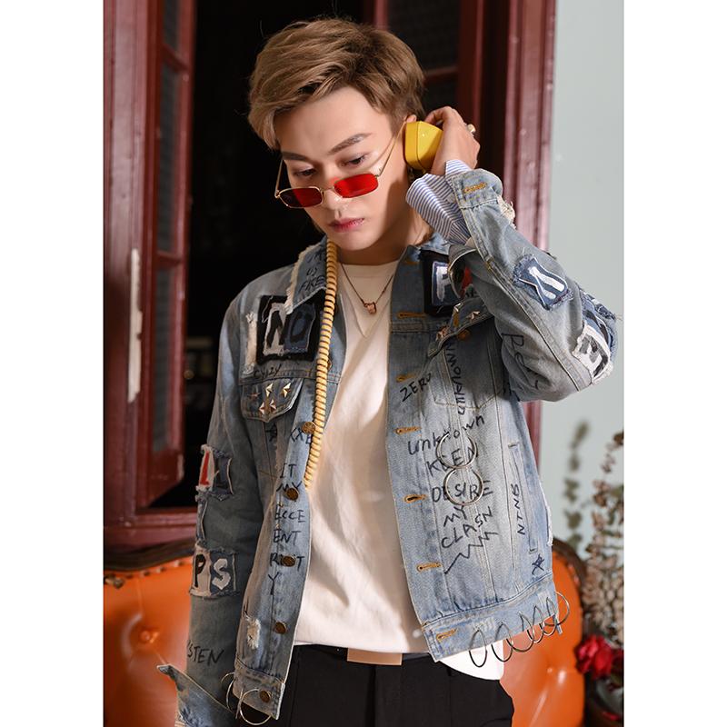 【爱穿帮】春季新款网红chic韩风宽松涂鸦牛仔衣外套男夹克印花潮