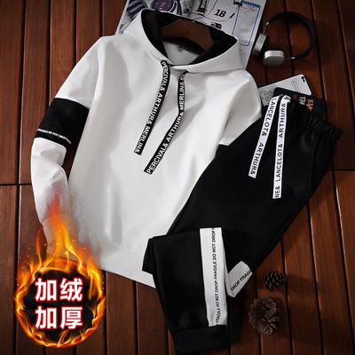秋冬季韩版青少年卫衣男士连帽加绒卫衣休闲套装学生潮流运动外套