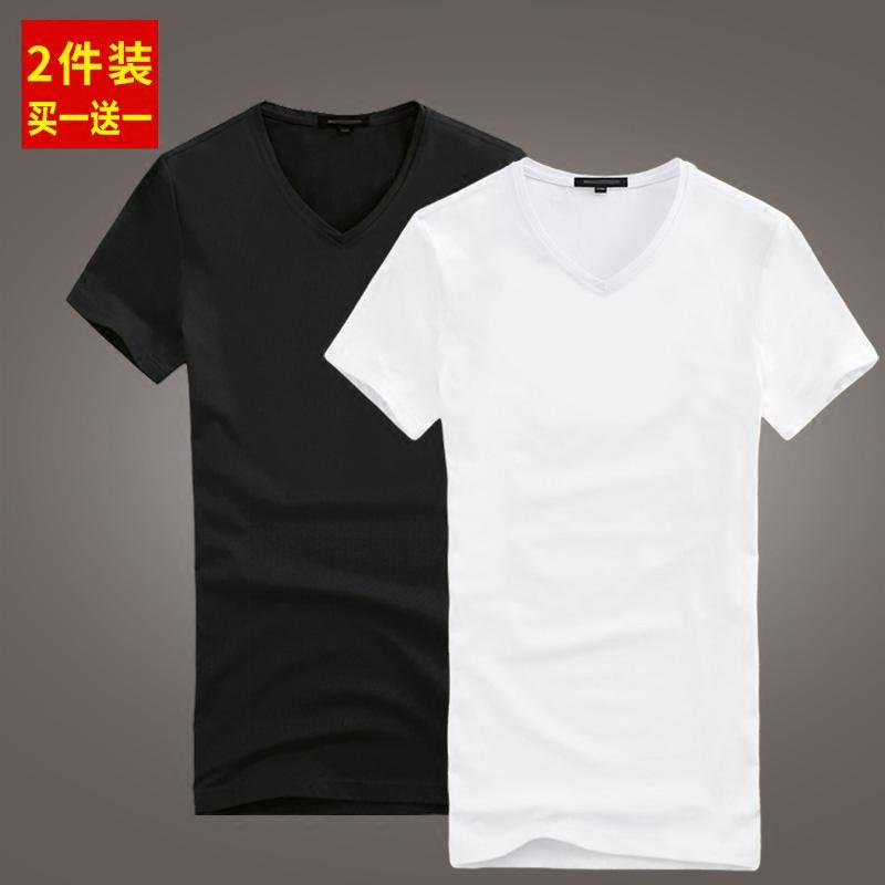 男士短袖t恤v领纯棉修身韩版纯色薄款上衣服夏季半截袖体恤打底衫