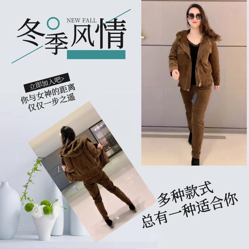 2019冬季网红同款中老年哈伦裤两件套宽松显瘦夹克灯芯绒女套装