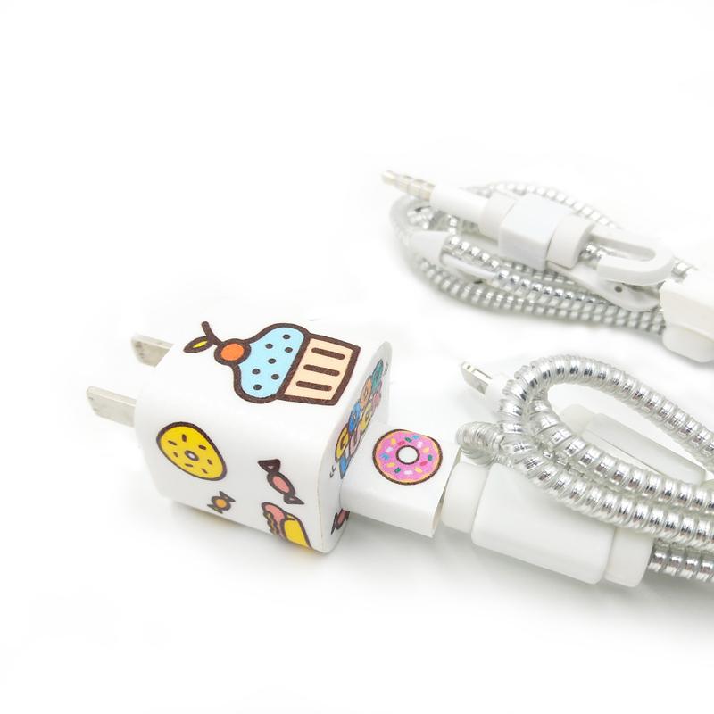 苹果XSmax数据线保护套防裂缠绕弹簧绳XR/8P耳机绕线器充电器贴纸