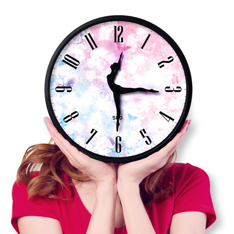 跳舞装饰静音时尚教室芭蕾舞蹈钟表客厅创意挂钟个性艺术圆形时钟