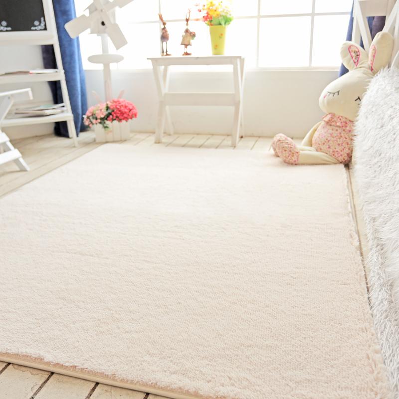 家用短毛丝毛地毯卧室网红同款床边满铺客厅茶几沙发地垫房间米色