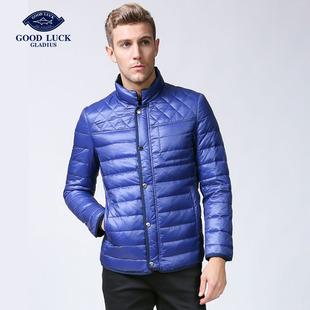 德鲨冬季羽绒服男时尚短款立领修身男装羽绒外套L246563