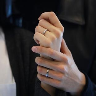 小众设计原创日月情侣戒指纯银一对活口男女学生简约日韩对戒刻字图片