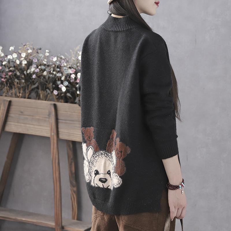 韩索依 复古文艺冬季新款半高领毛衣女宽松韩版慵懒风套头打底衫