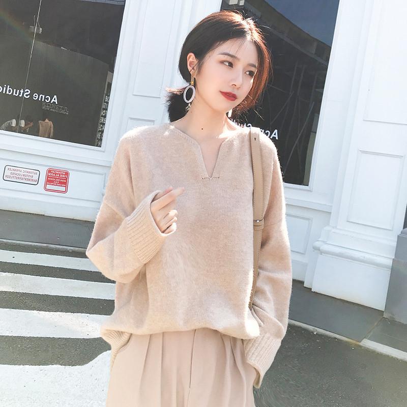 (好品质包芯纱)2018新款chic长袖宽松套头秋季慵懒风网红毛衣潮