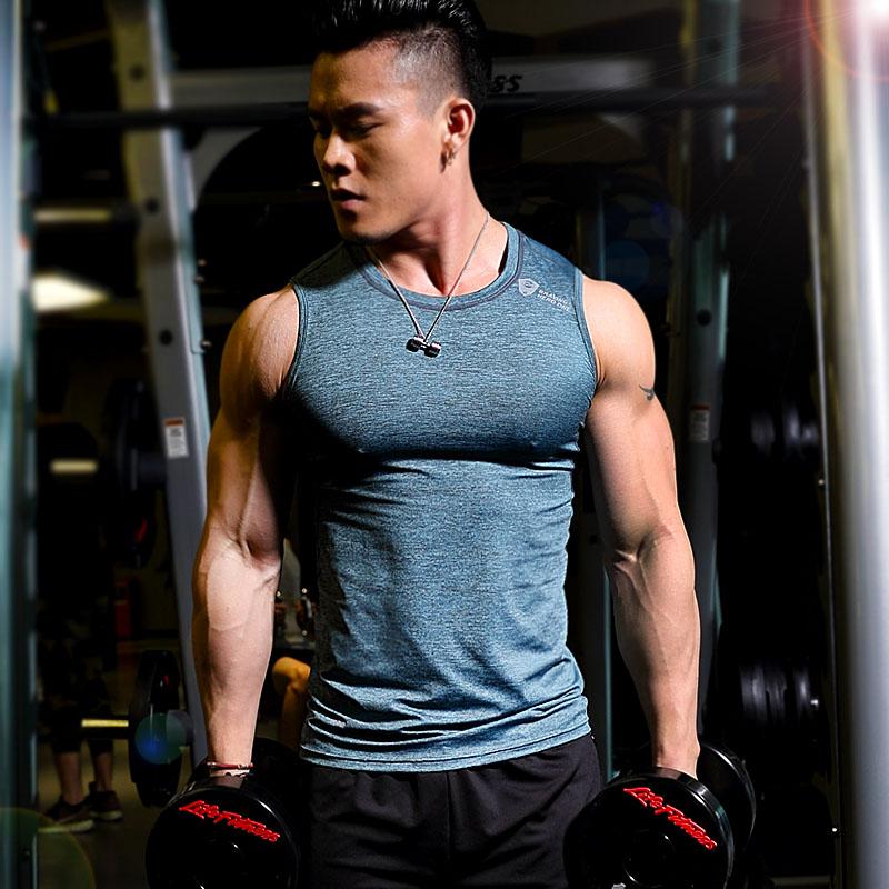 健身服男紧身背心无袖运动T恤弹力速干透气跑步坎肩训练健身上衣