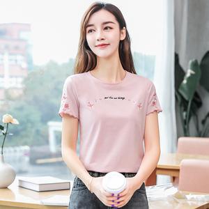 有视频 纯2021夏季新款修身绣花圆领短袖t恤女,女装T恤,韩衣工坊