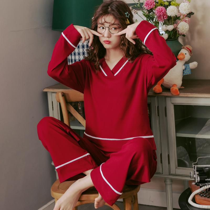 春秋季纯棉长袖睡衣女简约休闲酒红色V领家居服运动加大码3XL套装