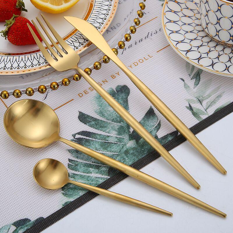 欧式不锈钢拉丝金色304家用牛排餐具西餐刀叉勺筷四件套套装全套