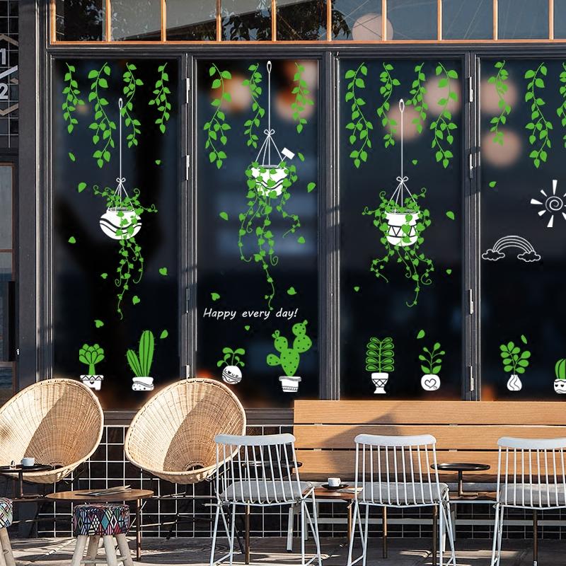 小清新店铺窗户玻璃贴纸橱窗装饰个性创意贴画欢迎光临门贴自粘