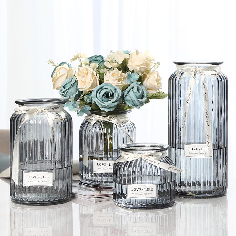 【四只】玻璃花瓶摆件北欧客厅透明水培养创意干花玫瑰百合插花瓶