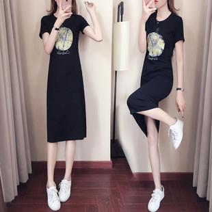 连衣裙2019新款夏休闲显瘦复古裙过膝仙女超仙森系法国小众桔梗裙