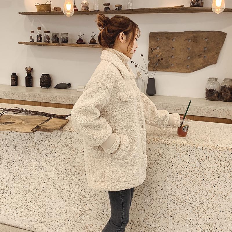 2018新款韩版女网红羊羔毛绒短款圈圈皮毛一体加厚毛茸茸小外套冬