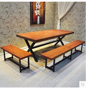 American rectangular retro solid wood wrought iron dining table residential furniture office bar dining coffee table and chair conference table