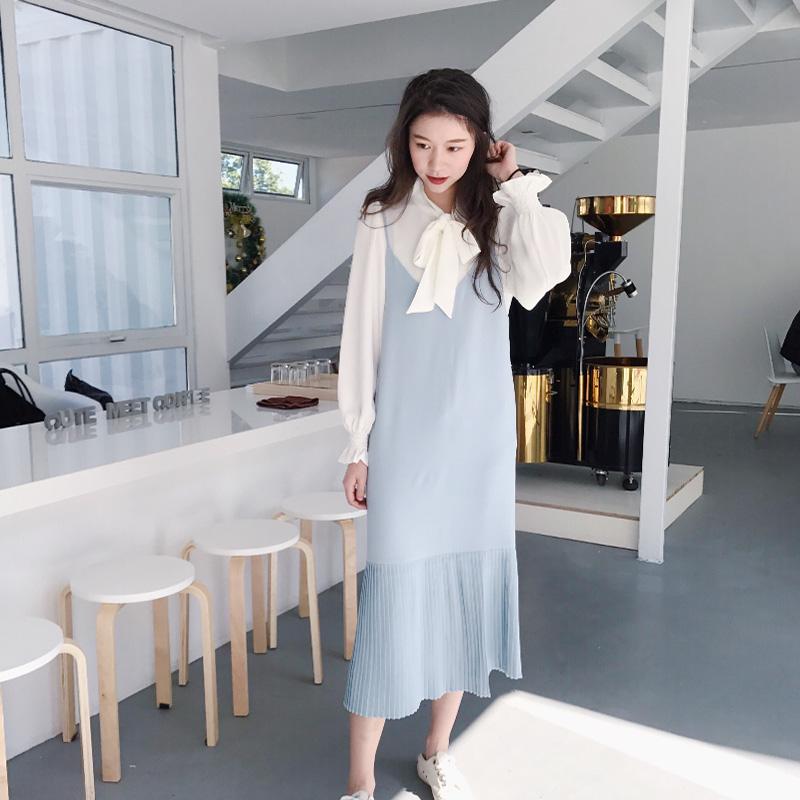 胖子王老板 连衣裙女2018新款女中长款吊带雪纺淑女不规则褶皱