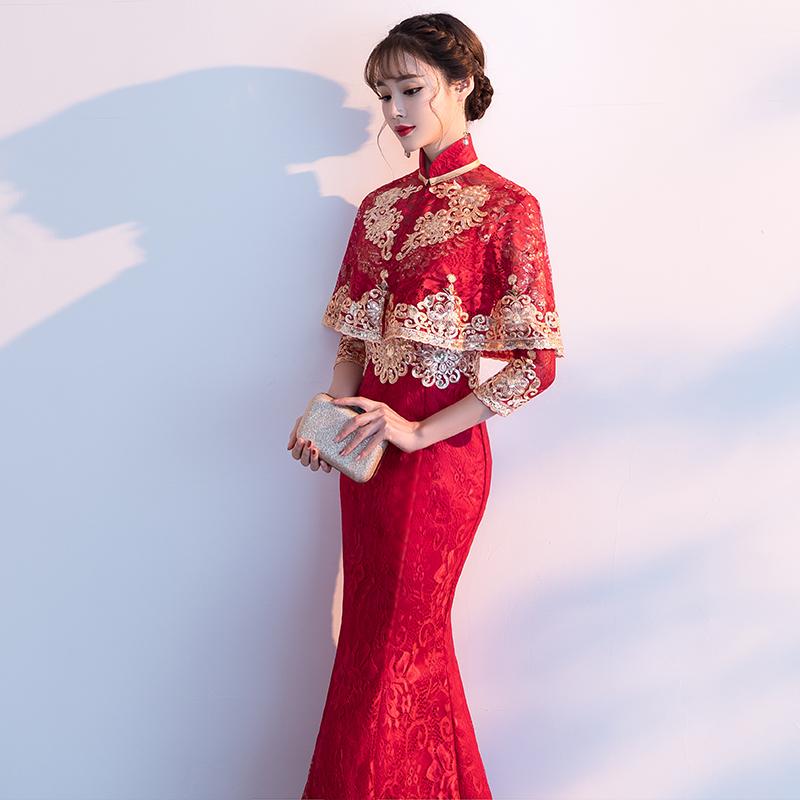 鱼尾敬酒服新娘2018新款冬季红色中式结婚旗袍进酒修身晚礼服披肩