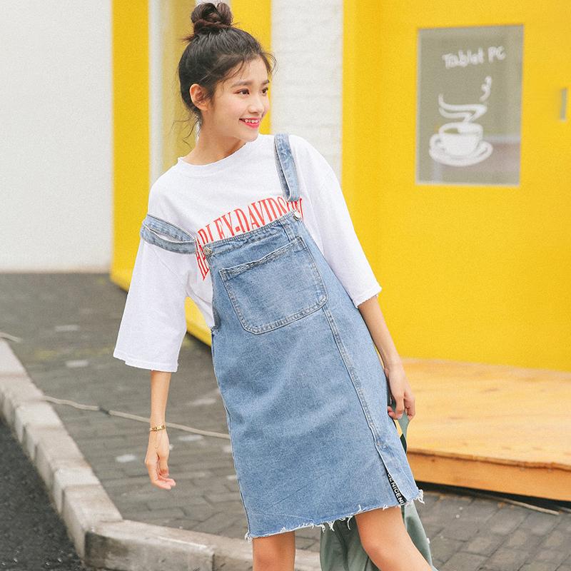 牛仔背带裙女夏2017新款韩国学生百搭a型短裙开叉纯色显瘦半身裙
