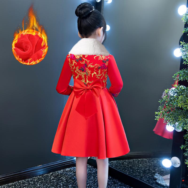 女童旗袍秋冬新年装宝宝唐装汉服洋气公主儿童拜年礼服中国风古筝