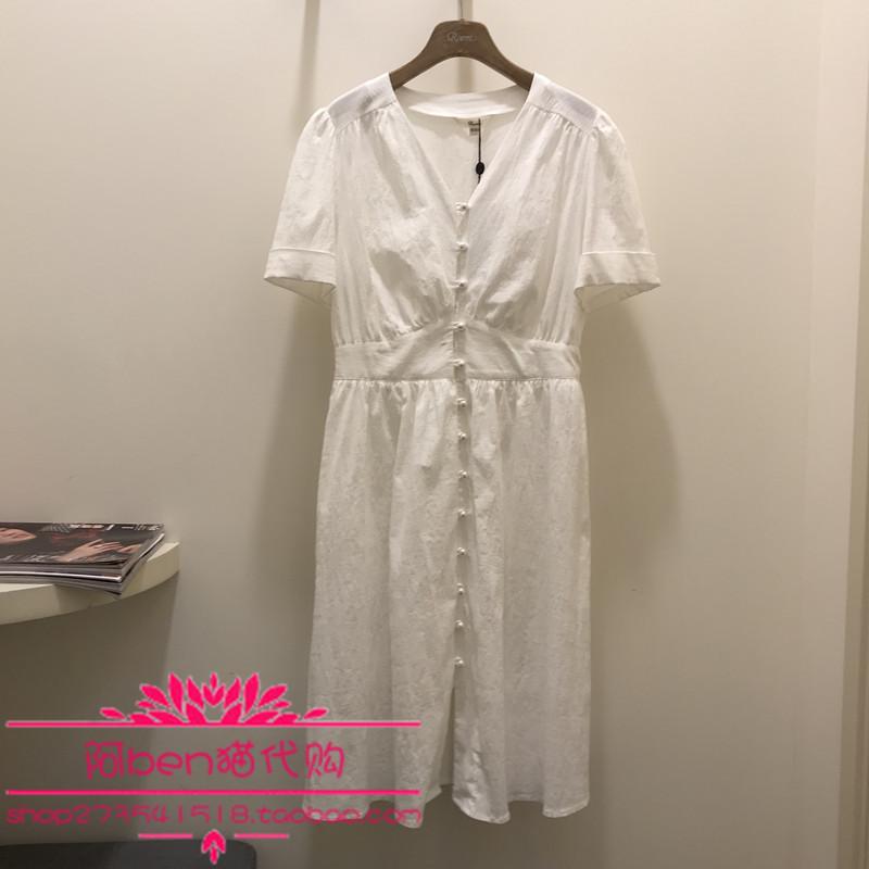 Roem 19夏季新款韩版修身潮流时尚气质珍珠扣V领连衣裙RCOW92610M