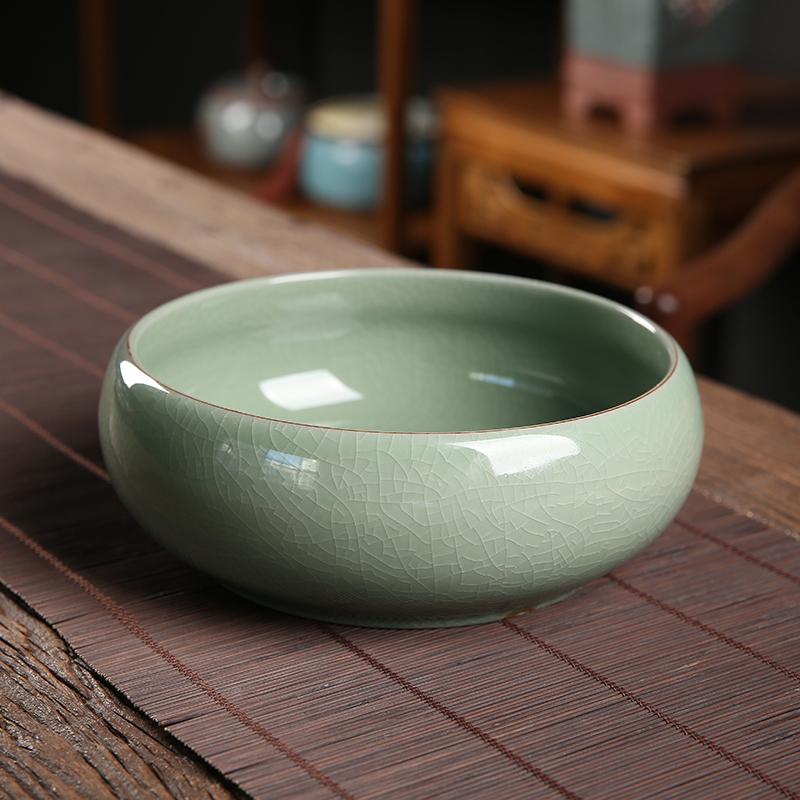 大号哥窑茶洗龙泉青瓷陶瓷功夫茶道茶具零配件杯洗水盂水洗笔洗