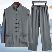 中老年唐装男长袖棉麻套装爸爸春yu12装中国ka爷爷老的衣服